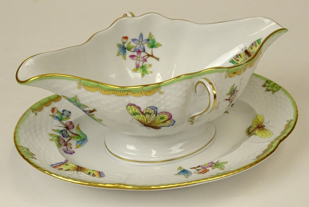 Herend Hand Painted Queen Victoria Sauce Boat with