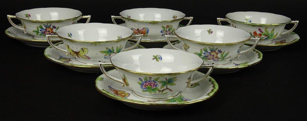 Six (6) Herend Hand Painted Queen Victoria Cream Soup