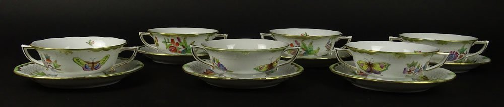 Six (6) Herend Hand Painted Queen Victoria Cream Soup