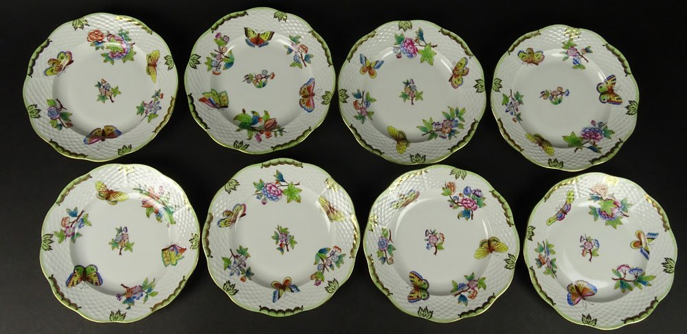 Eight (8) Herend Hand Painted Queen Victoria Salad