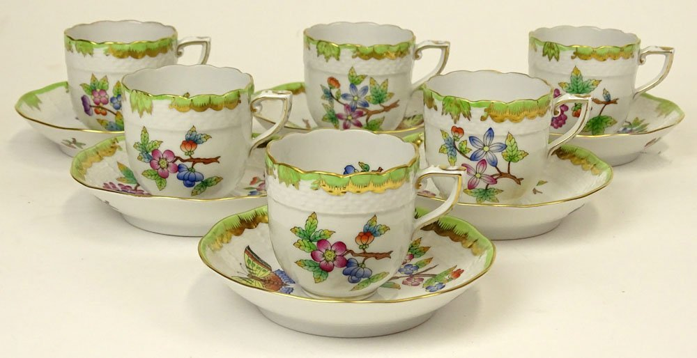 Six (6) Herend Hand Painted Queen Victoria Cups and