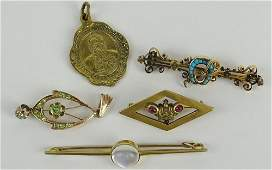 Collection of Five (5) Antique Russian Jewelry