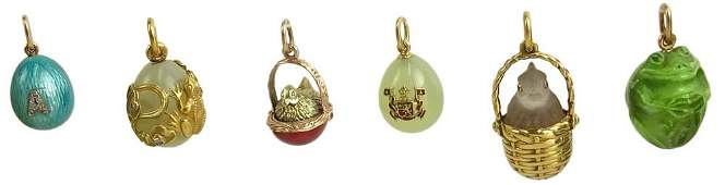 Collection of Six (6) Russian Faberge Miniature Easter
