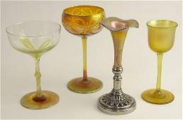 Lot of Four 4 Antique Quezal Iridescent Art Glass