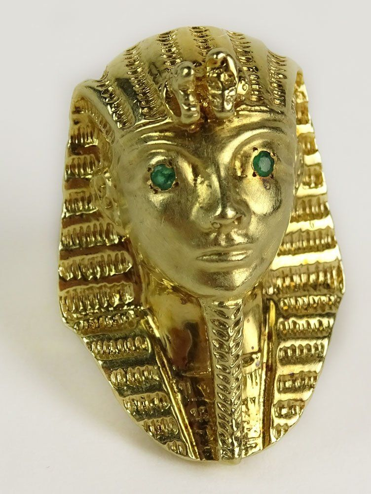 Vintage Egyptian Revival 14 Karat Yellow Gold and