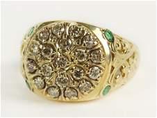 Vintage 14 Karat Yellow Gold, Diamond and Emerald Ring.