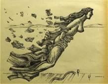 Mario Carreno Cuban 19131999 Ink on Paper Ships