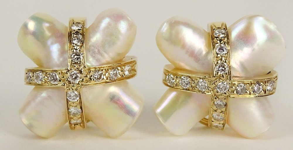 Fine Quality Pair of Lady's X Shape Mother of Pearl, 14