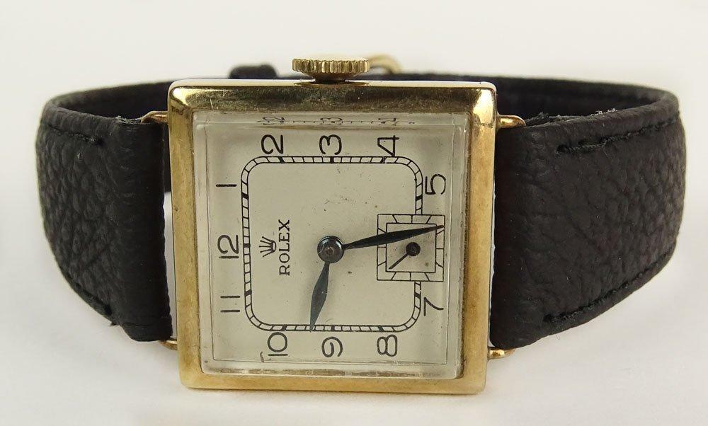 Rolex Art Deco Yellow Gold Square Manual Movement Watch
