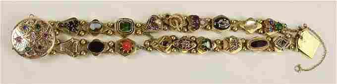 Ladys Vintage 14 Karat Yellow Gold and Multistone