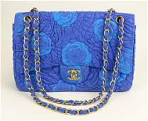 Chanel Quilted Blue Leather Shoulder Bag with Turquoise