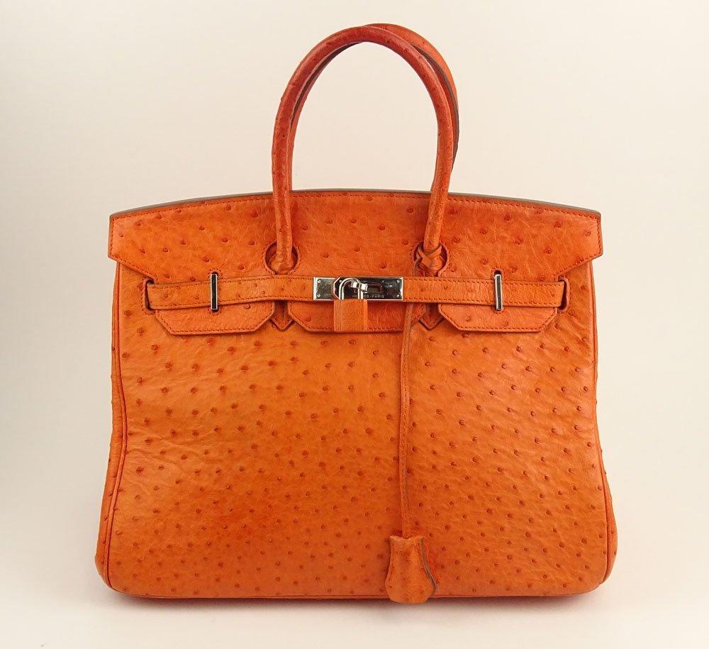 Hermes 35cm Birkin Bag in Orange Ostrich. Minor Surface