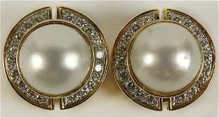 Pair of Lady's Vintage Mabe Pearl, Round Cut Diamond