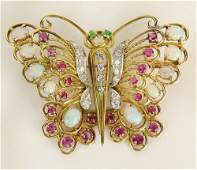 Ladys Vintage 18 Karat Yellow Gold Butterfly Brooch