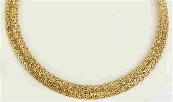 Vintage Italian 14 Karat Yellow Gold Mesh Necklace.