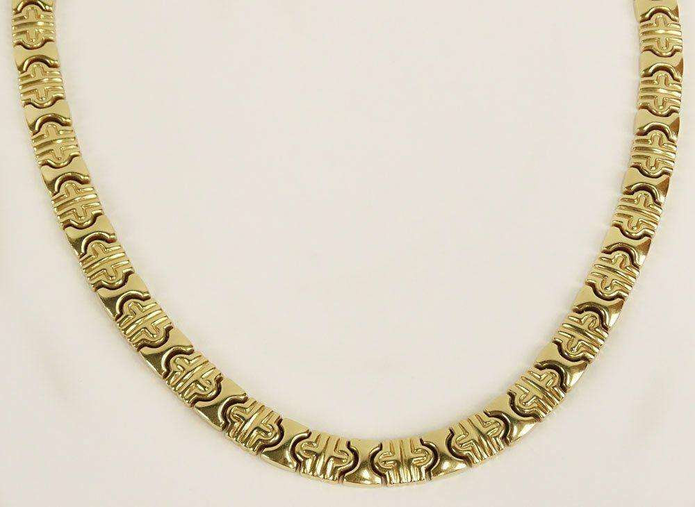 Vintage 14 Karat Yellow Gold Link Necklace. Signed ARR