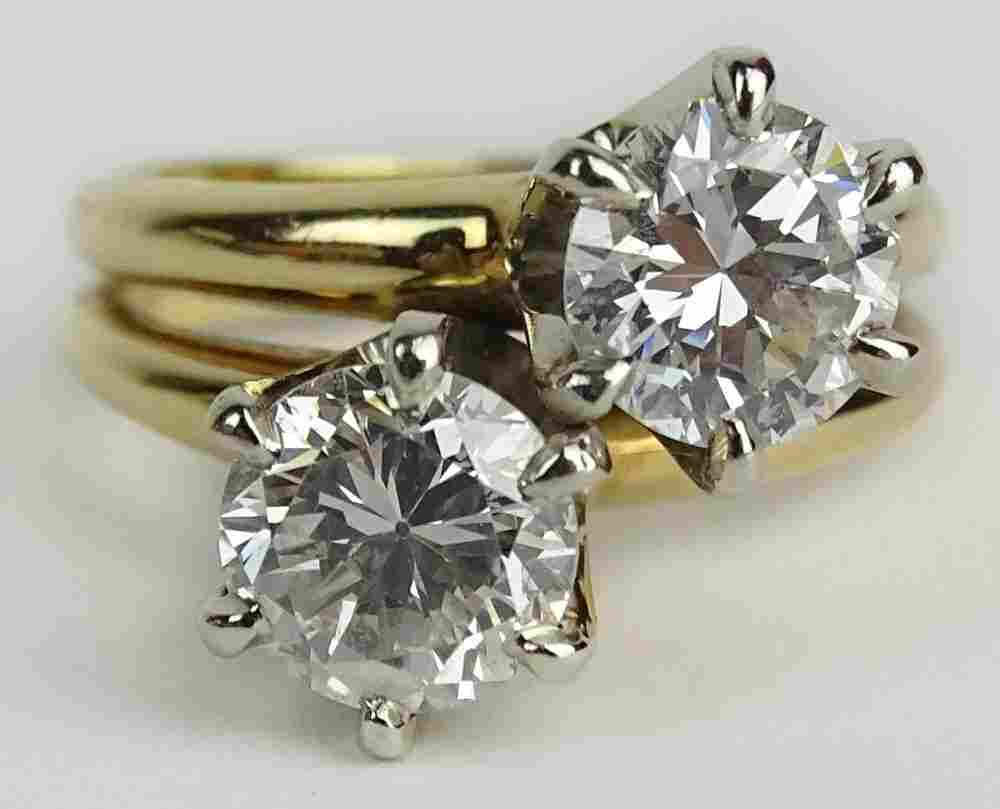 Lady's Vintage approx. 2.0 Carat Round Cut Diamond and