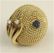 Lady's Vintage 14 Karat Yellow Gold Dome Ring with