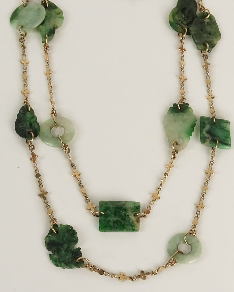 Lady's Vintage Carved Jade and 14 Karat Yellow Gold