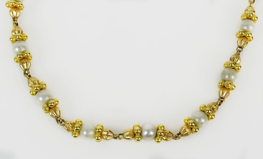 Lady's Vintage High Karat Yellow Gold and Pearl