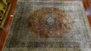 Semi Antique Silk Persian Rug Unsigned Good