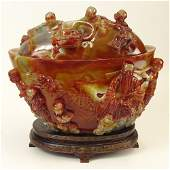 A Chinese Carnelian Agate Covered Bowl. Oval In Shape