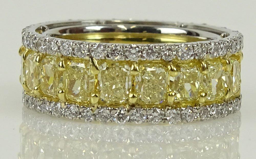 EGL certified 8.23 carat rectangular cut fancy intense