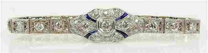 Ladys Art Deco approx 250 carat diamond sapphire