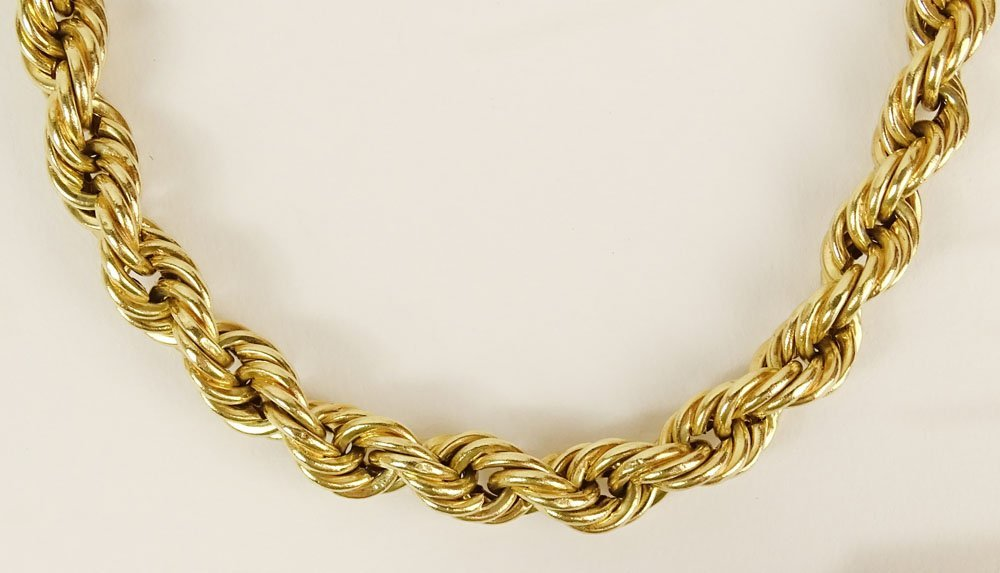 Lady's vintage 14 karat yellow gold rope necklace.