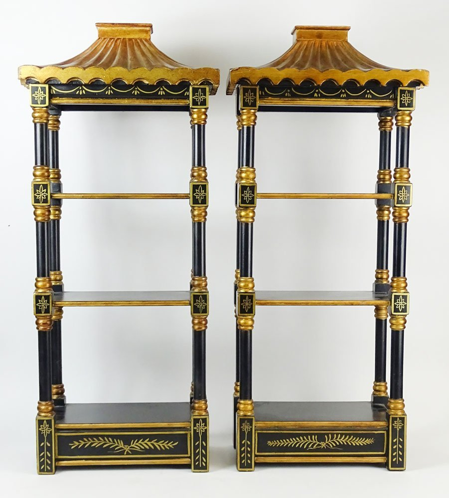 Pair of Vintage Painted Wood Pagoda Style