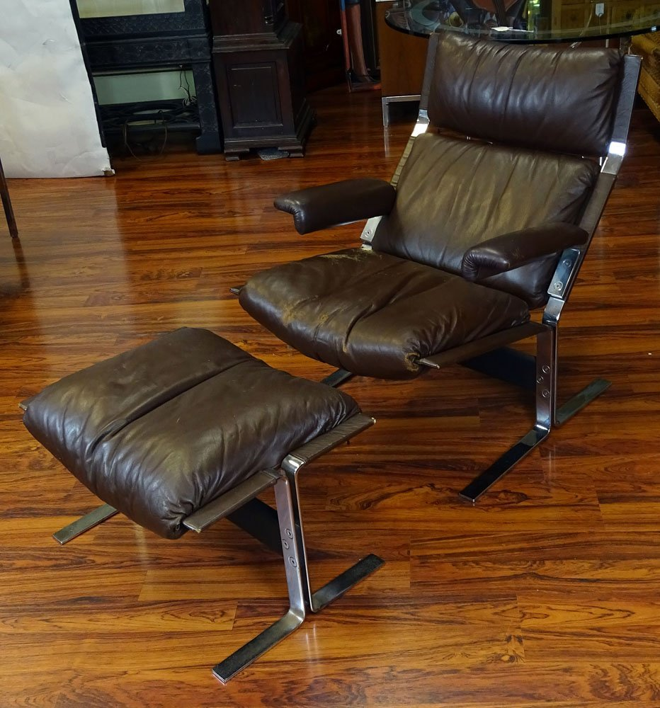 Vintage Brown Leather and Chromed Metal Recliner and