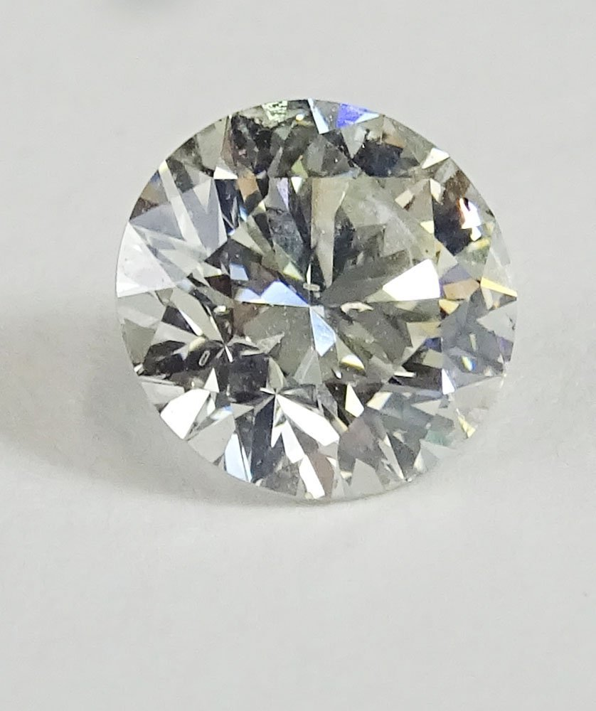 EGL certified 2.17 carat round brilliant cut diamond, H