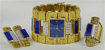 Heavy Retro 18 Karat Yellow Gold Lapis Diamond Three