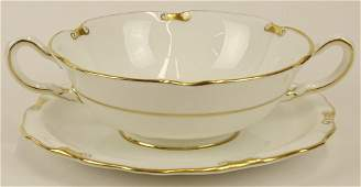 Partial Royal Crown Derby porcelain cream soup set in