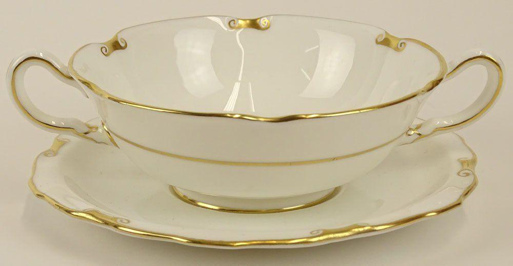 Partial Royal Crown Derby porcelain cream soup set in