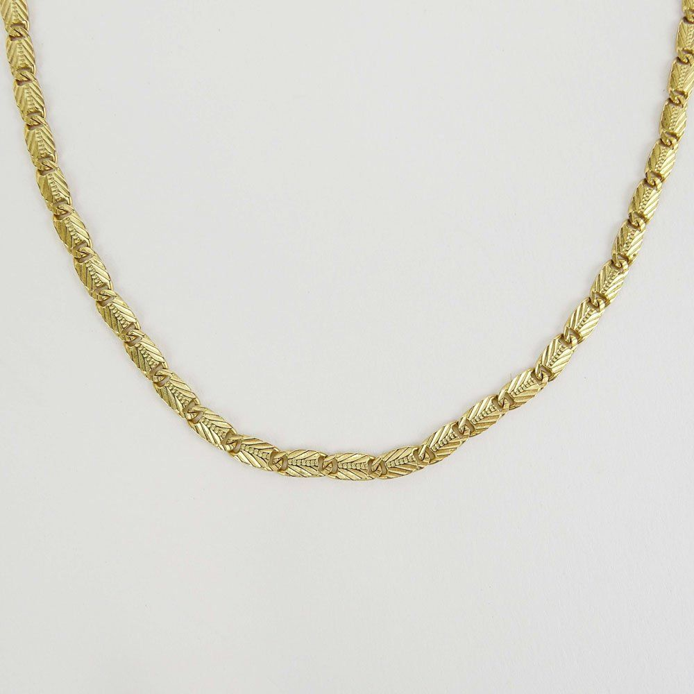 Vintage Italian 14 karat Yellow Gold Necklace. Signed.