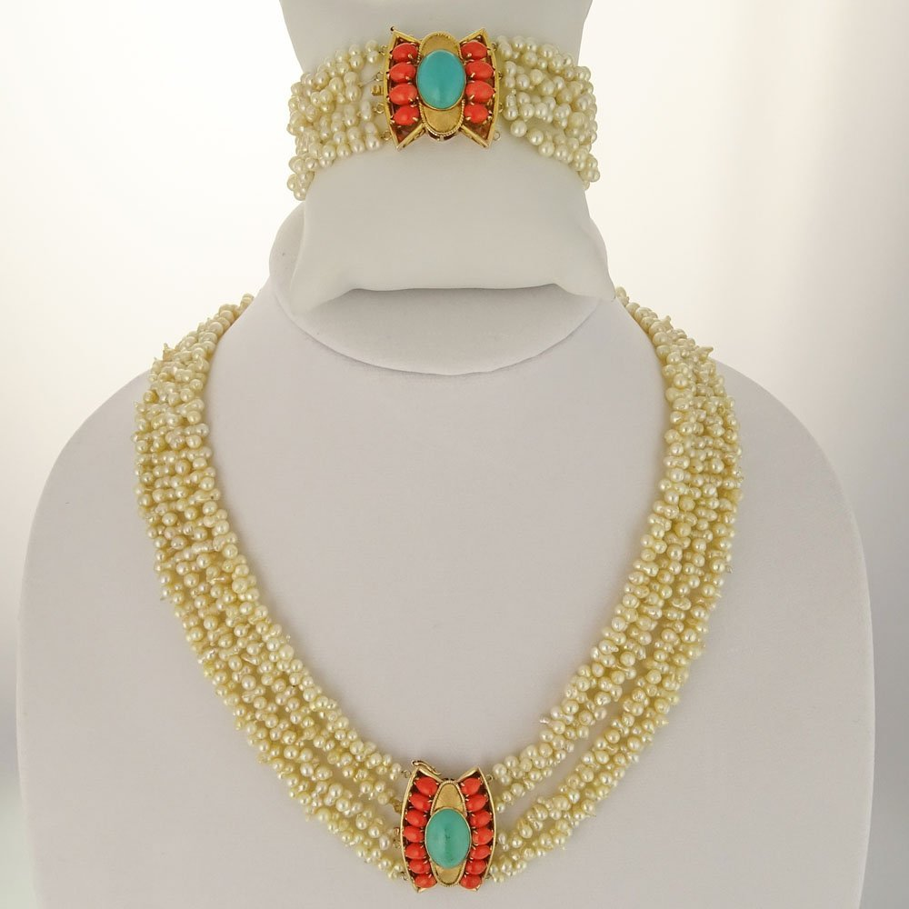 Lady's Vintage Multi Strand Baroque Pearl Necklace and