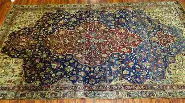 Semi-Antique Kerman Persian Rug. Faded, low spots,