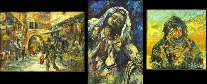 Three 3 Baruch Zipori FrenchIsraeli 19201987 Oil