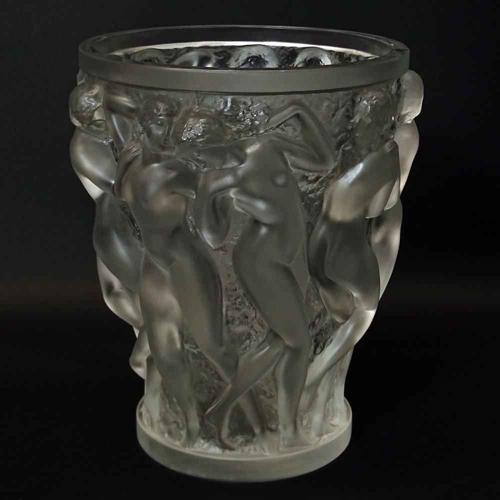 Vintage R. Lalique Frosted Crystal Bacchantes Vase. - 3