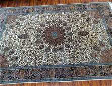 Semiantique Persian Wool Rug Center Medallion on