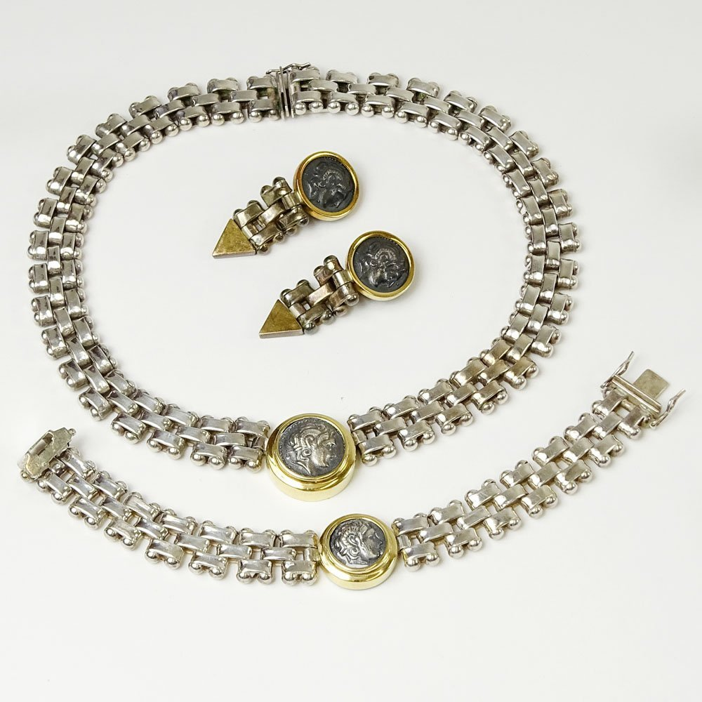 Lady's Vintage Sterling Silver and 18 Karat Yellow Gold