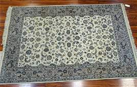 Semi Antique Persian Wool Rug White and gray floral