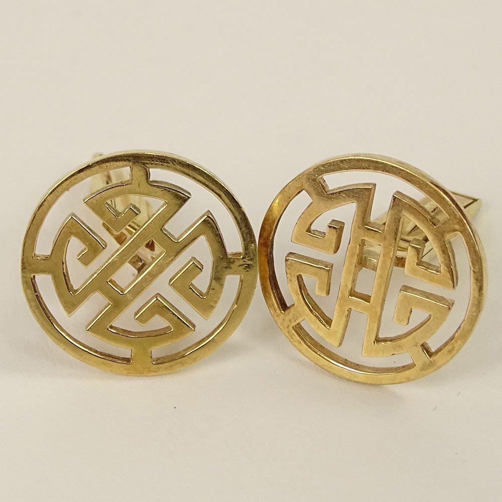 Pair of Men's 14 Karat Yellow Gold Chinese style