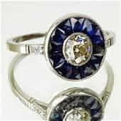 Ladys Art Deco European Cut Diamond Sapphire and