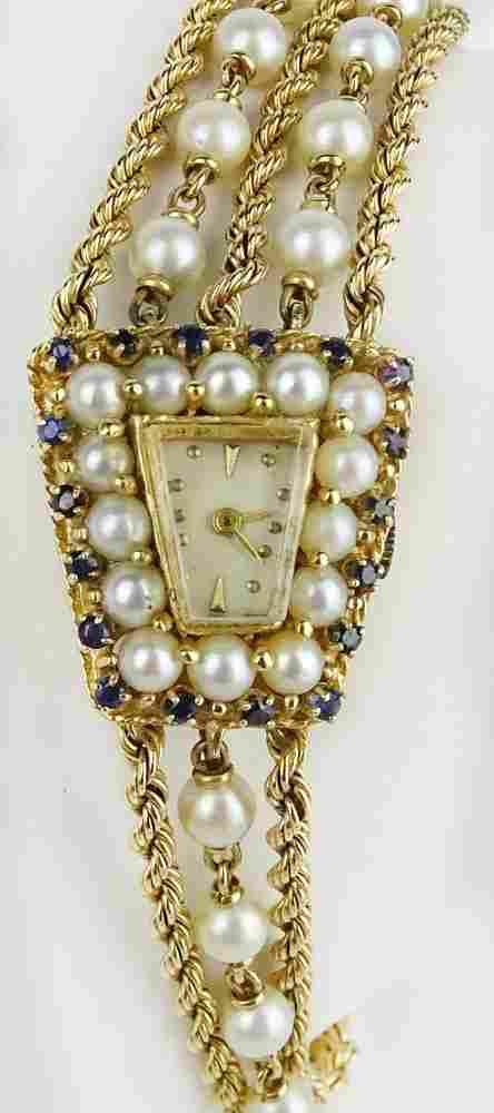 Lady's Edwardian 14 Karat Yellow Gold, Diamond,