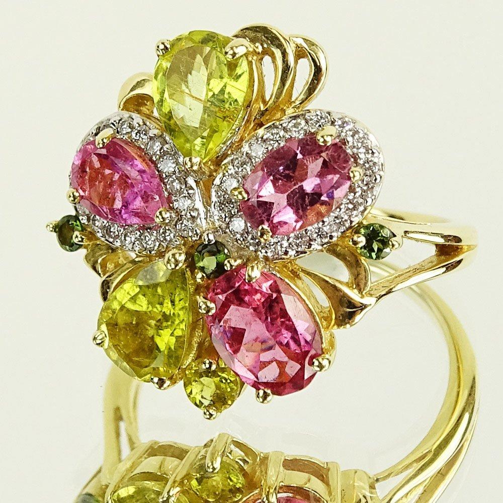 Lady's Vintage Pink Tourmaline, Yellow Quartz, Diamond