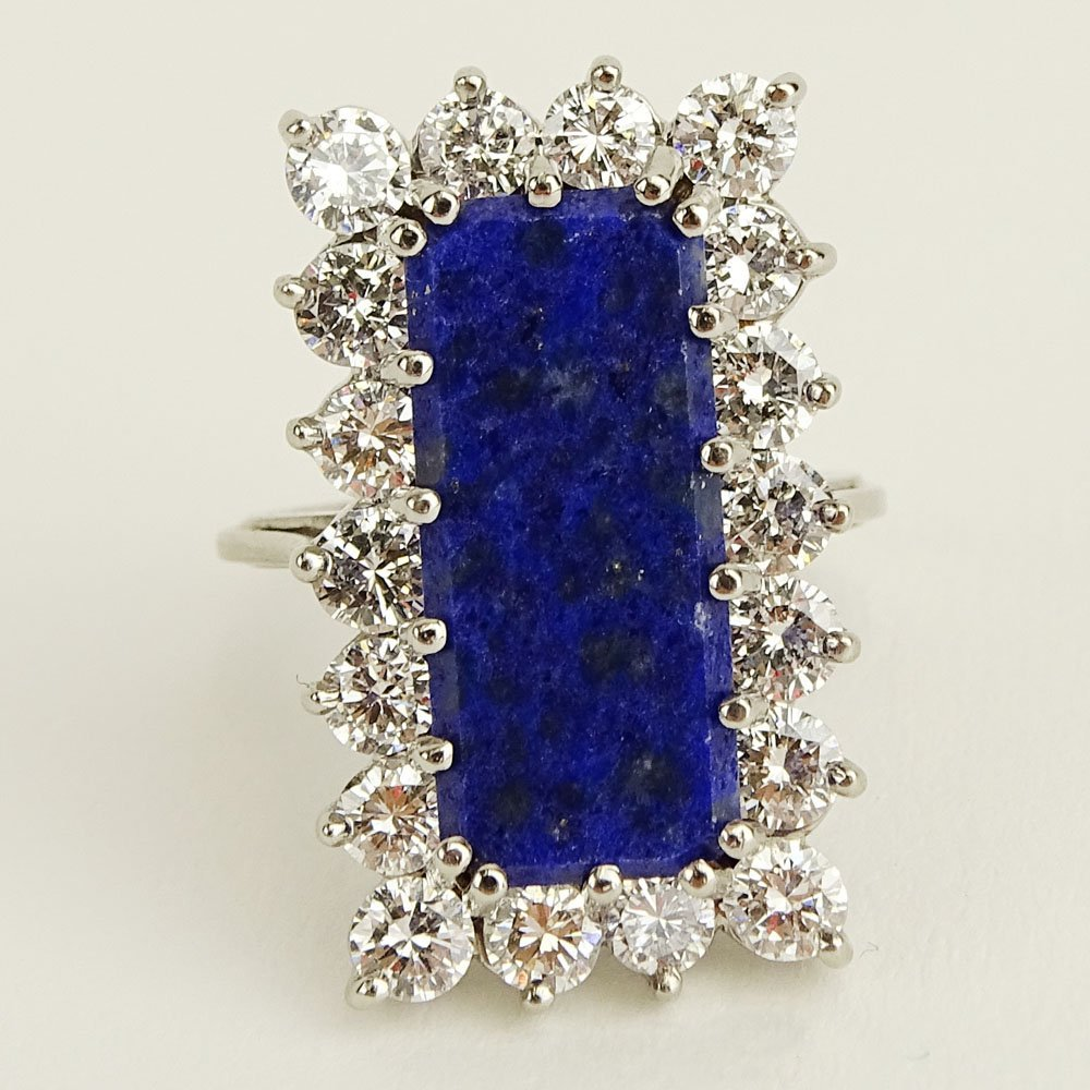 Vintage Approx 2.10 Carat Diamond, Large Lapis and 14