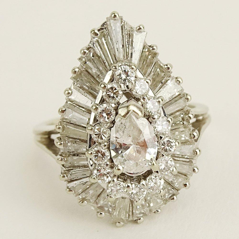 Vintage Diamond and 14 Karat White Gold Ballerina Ring.