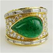Vintage David Webb Pear Shape Cabochon Emerald Round